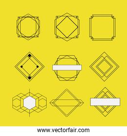 retro vintage insignias sketch set in monochrome silhouette on yellow background