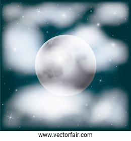 nightly sky scene background with moon and cloudiness and stars