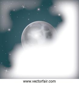 nightly scene background with moon view covered by clouds and starry sky