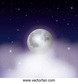nightly background with moon over clouds on starry sky