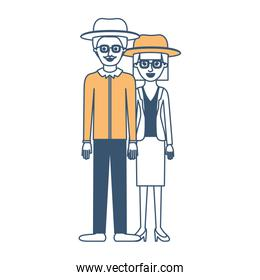 couple in color sections silhouette and both with hat and glasses and him with moustache and shirt and pants and shoes and her with blouse and jacket and skirt and heel shoes with mushroom hairstyle