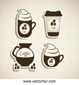 illustration of coffee icons labels isolated on beige background