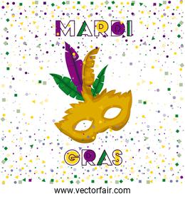 mardi gras poster with yellow carnival mask and colorful feathers with confetti background