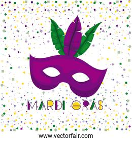 mardi gras poster with purple carnival mask and colorful feathers with confetti background