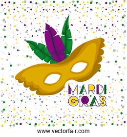 mardi gras poster with yellow carnival mask with colorful feathers and confetti background