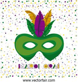 mardi gras poster with green carnival mask with colorful feathers and confetti background