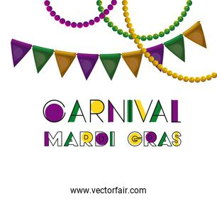 carnival mardi gras poster with colorful triangular festoons and necklaces over white background