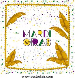 carnival mardi gras poster with yellow necklace frame with feathers over colorful confetti background