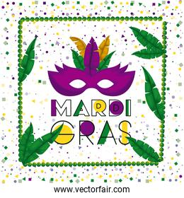 carnival mardi gras poster with green necklace frame with feathers and purple mask over colorful confetti background