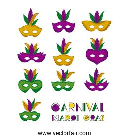 carnival mardi gras set of colorful mask with feathers