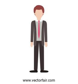 faceless man full body with suit and tie and pants and shoes with short hair in colorful silhouette