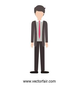 faceless man full body with suit and tie and pants and shoes with short hairstyle in colorful silhouette