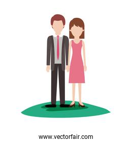 faceless couple colorful scene outdoor and him with suit and tie and pants and shoes with short hair and her with dress and heel shoes with mid length hair