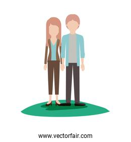 faceless couple colorful scene outdoor and her with blouse and jacket and pants and heel shoes with layered hair and him with shirt and jacket and pants and shoes with middle part hairstyle