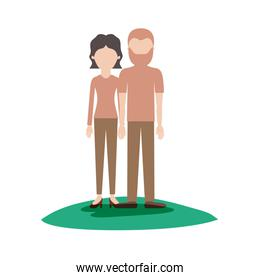 faceless couple colorful scene outdoor and her with blouse long sleeve and pants and heel shoes with short wavy hair and him with t-shirt and pants and shoes with short hair and beard