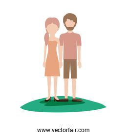 faceless couple colorful scene outdoor and her with strapless dress and heel shoes with pigtail hairstyle and him with t-shirt and short pants and shoes with short hair and beard