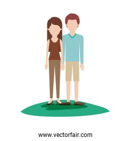 faceless couple colorful scene outdoor and her with t-shirt sleeveless and pants and heel shoes with long straight hair and him with sweater and short pants and shoes with short hair