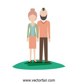 faceless couple colorful scene outdoor and her with blouse and jacket and skirt and heel shoes with collected hair and him with beard and sweater and pants and shoes with taper fade haircut