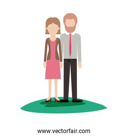 faceless couple colorful scene outdoor and her with blouse and jacket and skirt and heel shoes with short straight hairstyle and him with shirt and tie and pants and shoes with short hair and bearded