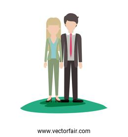 faceless couple colorful scene outdoor and her with blouse and jacket and pants and heel shoes with straight long hair and him with suit and tie and pants and shoes with short hair