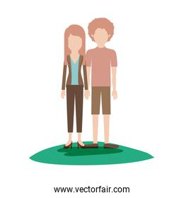 faceless couple colorful scene outdoor and her with blouse and jacket and pants and heel shoes with layered hair and him with t-shirt and short pants and shoes with curly hair