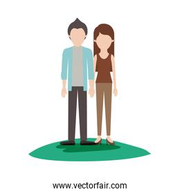 faceless couple colorful scene outdoor and him with shirt and jacket and pants and shoes with short hair and her with t-shirt sleeveless and pants and heel shoes with long straight hair