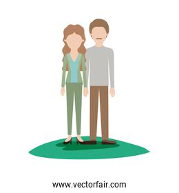 faceless couple colorful scene outdoor and her with blouse and jacket and pants and heel shoes with wavy long hair and him with shirt and pants and shoes with short hair and moustache
