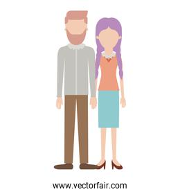 faceless couple colorful silhouette and him with beard and shirt and pants and shoes with side parted hairstyle and her with blouse and skirt and heel shoes with braided hair