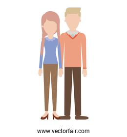 faceless couple colorful silhouette and her with blouse long sleeve and pants and heel shoes with braid and fringe hairstyle and him with sweater and pants and shoes with side parted hairstyle