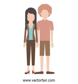 faceless couple colorful silhouette and her with blouse and jacket and pants and heel shoes with layered hair and him with t-shirt and short pants and shoes with curly hair