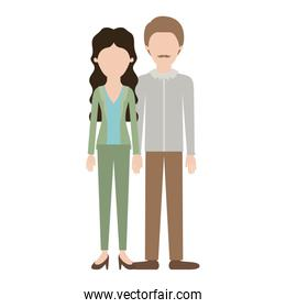 faceless couple colorful silhouette and her with blouse and jacket and pants and heel shoes with wavy long hair and him with shirt and pants and shoes with short hair and moustache