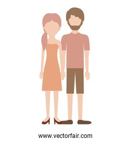 faceless couple colorful silhouette and her with strapless dress and heel shoes with pigtail hairstyle and him with t-shirt and short pants and shoes with short hair and beard