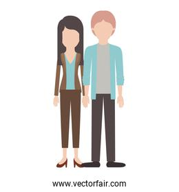 faceless couple colorful silhouette and her with blouse and jacket and pants and heel shoes with layered hair and him with shirt and jacket and pants and shoes with middle part hairstyle