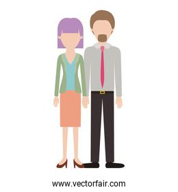 faceless couple colorful silhouette and her with blouse and jacket and skirt and heel shoes with mushroom hairstyle and him with shirt and tie and pants and shoes with short hair and goatee beard