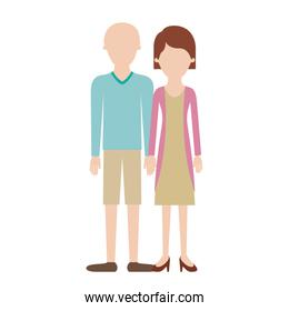 faceless couple colorful silhouette and him with t-shirt long sleeve and short pants and shoes with high fade haircut and her with blouse and jacket and skirt and heel shoes with short hair