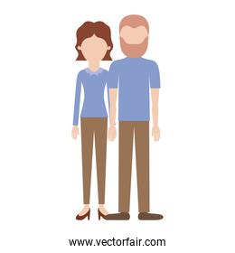 faceless couple colorful silhouette and her with blouse long sleeve and pants and heel shoes with short wavy hair and him with t-shirt and pants and shoes with short hair and beard
