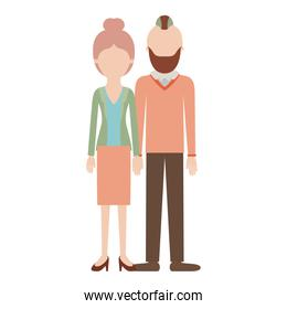 faceless couple colorful silhouette and her with blouse and jacket and skirt and heel shoes with collected hair and him with beard and sweater and pants and shoes with taper fade haircut