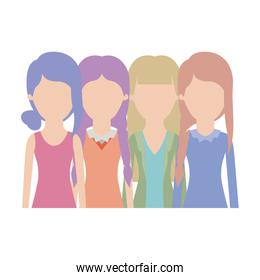faceless women in half body with casual clothes and hairstyle braided fringe collected and straight in colorful silhouette