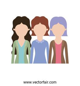 faceless women in half body with casual clothes and wavy and short hair in colorful silhouette