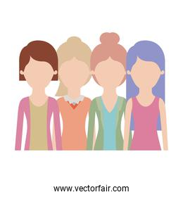 faceless women in half body with casual clothes and long straight and short hair and collected and ponytail in colorful silhouette