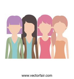 faceless women in half body with casual clothes and long and short hair and hairstyle mushroom layered and pigtail in colorful silhouette