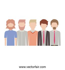 faceless men in half body with casual and formal clothes with short hairstyle and beard in colorful silhouette