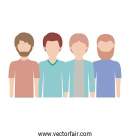 faceless men in half body with casual clothes with short hair and some with beard in colorful silhouette