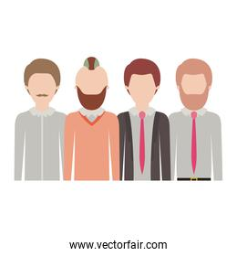 faceless men in half body with casual clothes with short hair and some with beard and moustache in colorful silhouette