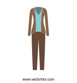 female clothes with pant and blouse and waistcoat in colorful silhouette without contour