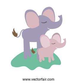 cartoon elephant mom and calf over grass in colorful silhouette on white background