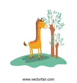 giraffe cartoon in forest next to the trees in colorful silhouette