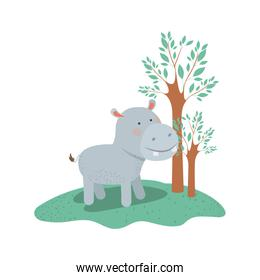 hippopotamus cartoon in forest next to the trees in colorful silhouette