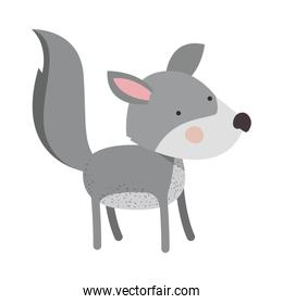 wolf cartoon colorful silhouette in white background
