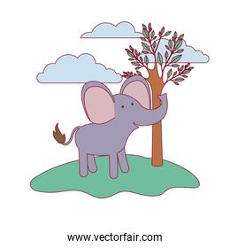 elephant cartoon in forest next to the trees in colorful silhouette with thin contour